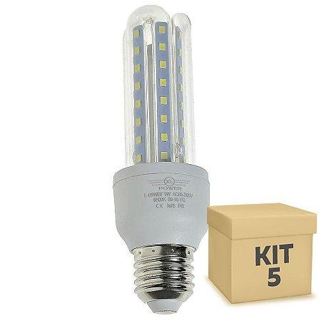 Kit 5 Lâmpada LED Milho 3U E27 9W Branco Frio | Inmetro
