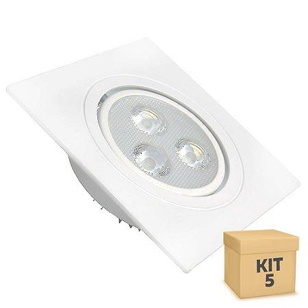 Kit 5 Spot 3W Dicróica LED Direcionavel Base Branca