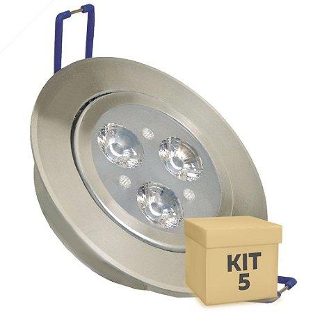 Kit 5 Spot Dicróica 3w LED Direcionável Corpo Aluminio