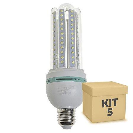 Kit 5 Lâmpada LED Milho 4U E27 16W Branco Frio | Inmetro