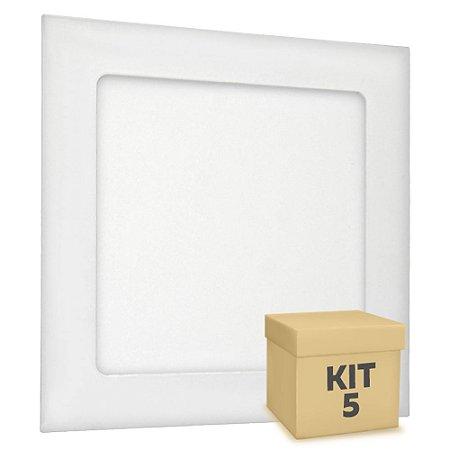 Kit 5 Luminária Plafon 12w LED Embutir Branco Quente