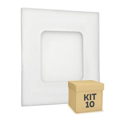 Kit 10 Luminária Plafon 3w LED Embutir Branco Frio