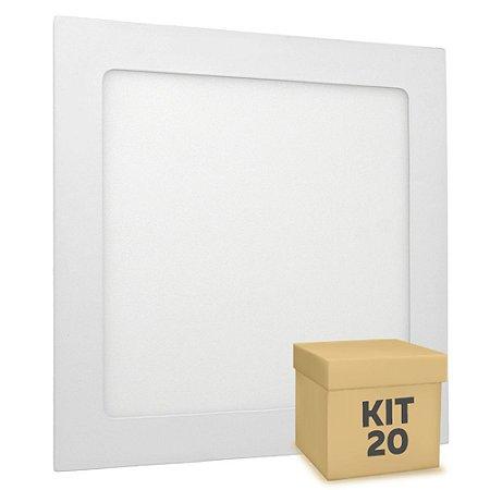 Kit 20 Luminária Plafon 12w LED Embutir Branco Quente