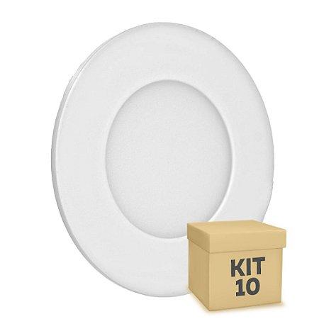 Kit 10 Luminária Plafon 3w LED Embutir Branco Quente