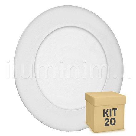 Kit 20 Luminária Plafon 6w LED Embutir Branco Quente
