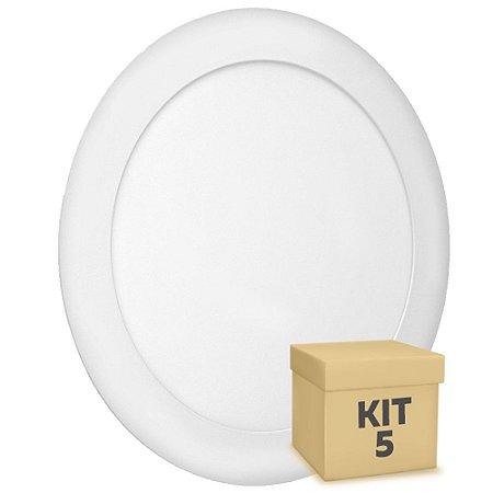 Kit 5 Luminária Plafon 18w LED Embutir Branco Quente