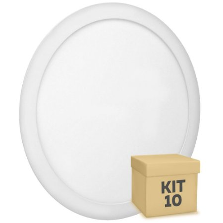 Kit 10 Luminária Plafon 25w LED Embutir Branco Quente