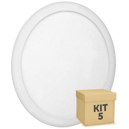 Kit 5 Luminária Plafon 25w LED Embutir Branco Quente