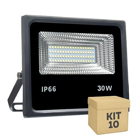 Kit 10 Refletor Holofote MicroLED 30W Branco Frio