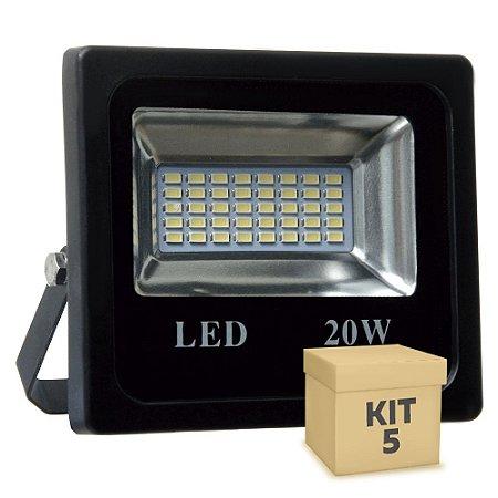 Kit 5 Refletor Holofote MicroLED 20W Branco Frio
