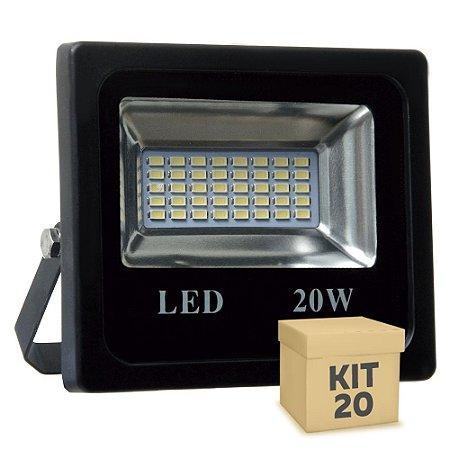 Kit 20 Refletor Holofote MicroLED 20W Branco Frio