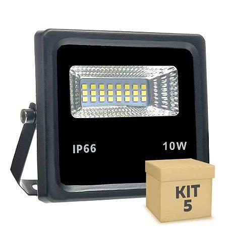 Kit 5 Refletor Holofote MicroLED 10W Branco Frio