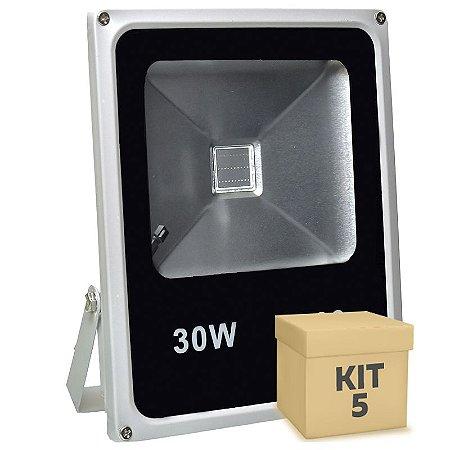 Kit 5 Refletor Holofote LED 30w RGB Colorido c/ Controle