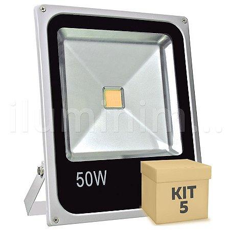 Kit 5 Refletor Holofote LED 50w Branco Quente