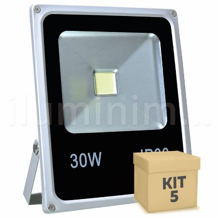 Kit 5 Refletor Holofote LED 30w Branco Frio