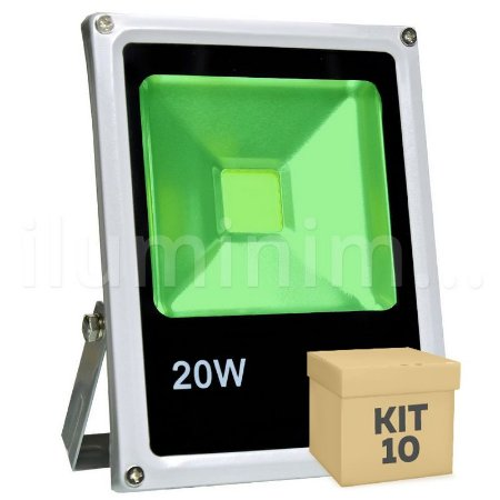 Kit 10 Refletor Holofote LED 20w Verde