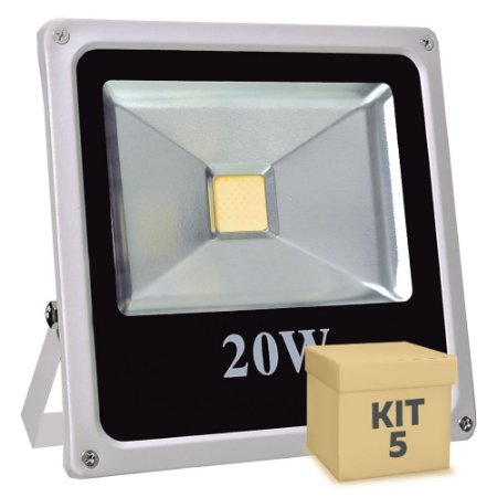 Kit 5 Refletor Holofote LED 20w Branco Quente