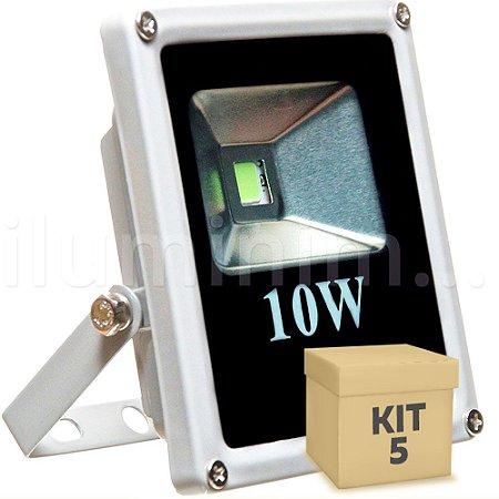 Kit 5 Refletor Holofote LED 10w Branco Frio