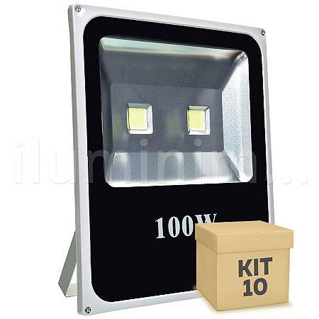 Kit 10 Refletor Holofote LED 100w Branco Frio