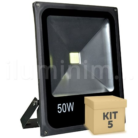 Kit 5 Refletor Holofote LED 50w Branco Frio Preto