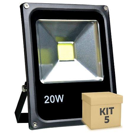 Kit 5 Refletor Holofote LED 20w Branco Frio Preto