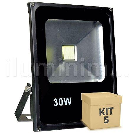 Kit 5 Refletor Holofote LED 30w Branco Frio Preto