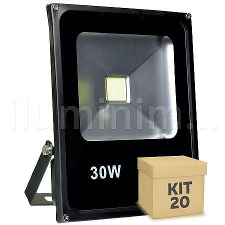 Kit 20 Refletor Holofote LED 30w Branco Frio Preto