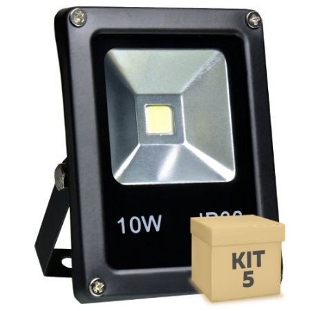 Kit 5 Refletor Holofote LED 10w Branco Frio Preto