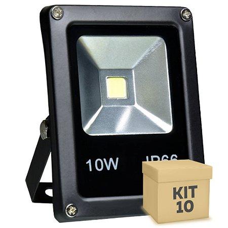 Kit 10 Refletor Holofote LED 10w Branco Frio Preto