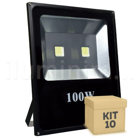 Kit 10 Refletor Holofote LED 100w Branco Frio Preto
