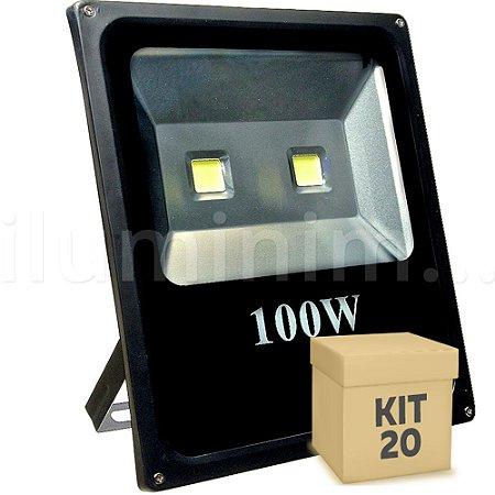 Kit 20 Refletor Holofote LED 100w Branco Frio Preto