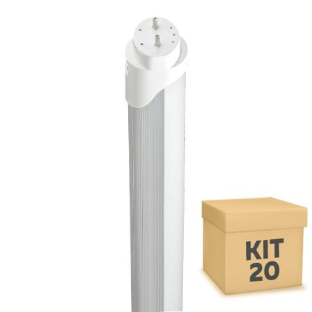 Kit 20 Lampada LED Tubular HO 36w 2,40m T8 Branco Frio | Inmetro