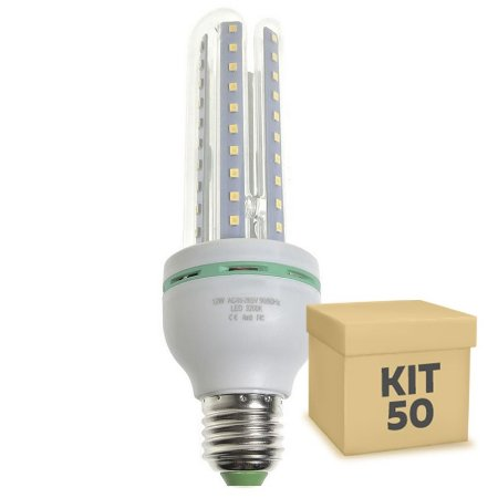Kit 50 Lâmpada LED Milho 3U E27 12W Branco Frio | Inmetro