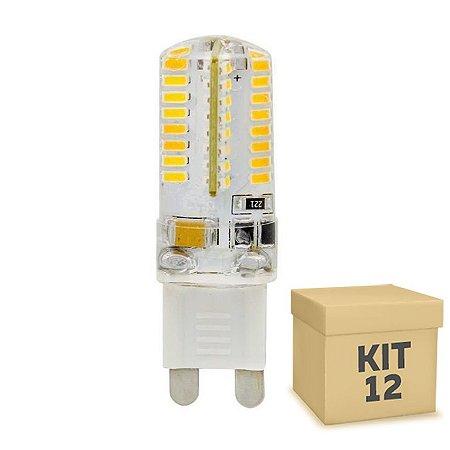 Kit 12 Lampada LED Halopin G9 3w Branco Frio 110V   Inmetro