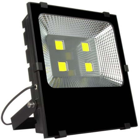 Refletor Holofote LED 200w Branco Frio Preto Slim