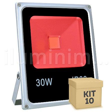 Kit 10 Refletor Holofote LED 30w Vermelho