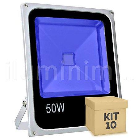 Kit 10 Refletor Holofote LED 50w Azul