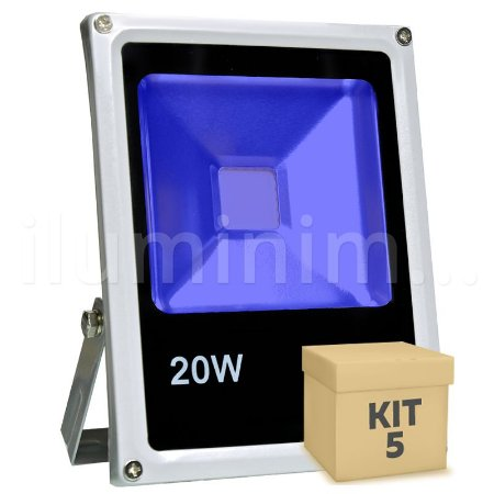 Kit 5 Refletor Holofote LED 20w Azul
