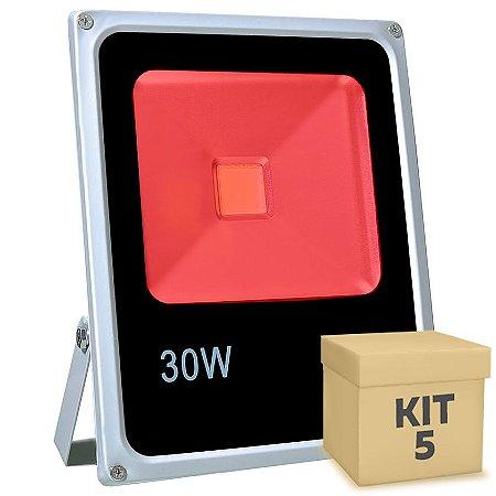 Kit 5 Refletor Holofote LED 30w Vermelho