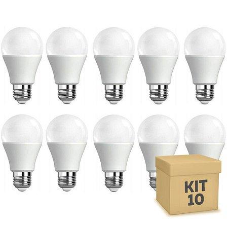 Kit 10 Lâmpada Led 9w Bulbo A60 Bivolt Branca | Amarela