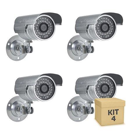 Kit 4 Câmera Segurança de LED Bullet Infravermelho HD 36 LEDs Prateada