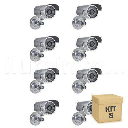 Kit 8 Câmera Segurança de LED Bullet Infravermelho HD 36 LEDs Prateada