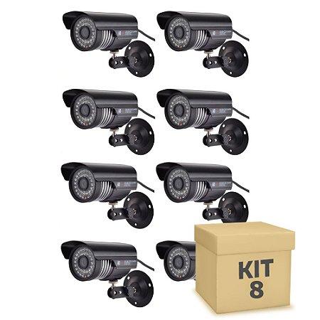 Kit 8 Câmera Segurança de LED Bullet Infravermelho 36 LEDs Preta