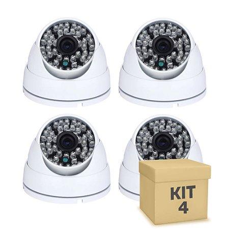 Kit 4 Câmera Segurança de LED Dome Infravermelho AHD 36 LEDs 1200TVL