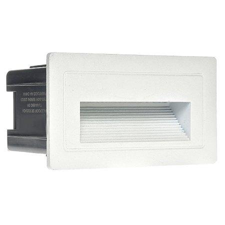 Balizador LED 3W De Embutir Retangular Branco Quente Branco