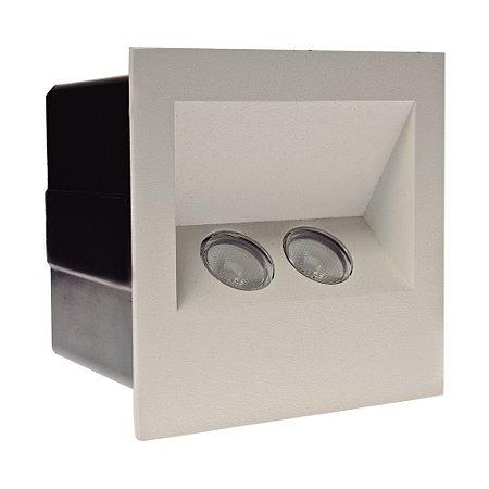 Balizador LED 2W De Embutir Quadrado Branco Quente