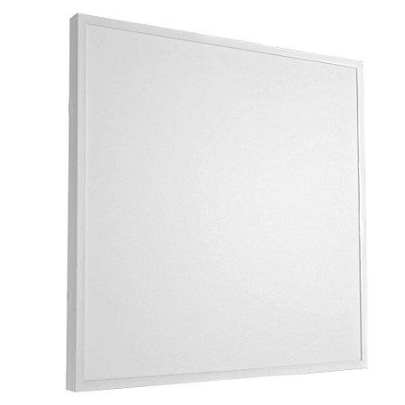 Luminária Plafon 60x60 48W LED Sobrepor Branco Quente Borda Branca