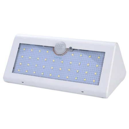 Luminaria Solar LED Sensor de Movimento 40 Leds Branca
