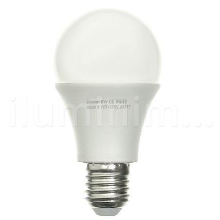 Lâmpada Bulbo LED A60 8W Bivolt Branca - Amarela | Inmetro