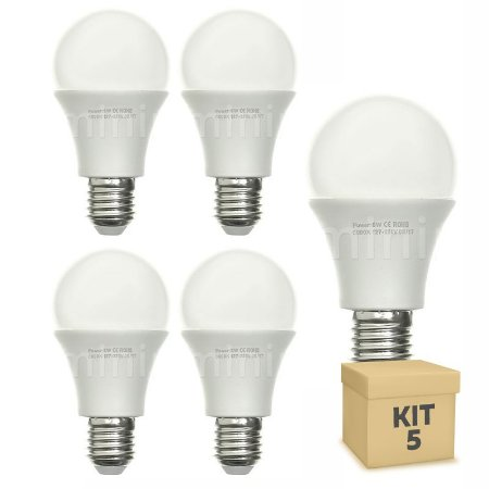 Kit 5 Lâmpada Bulbo LED A60 8W Bivolt Branca - Amarela | Inmetro